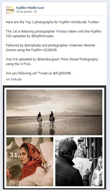 Imagem Facebook da Fujifilm Janeiro de 2013